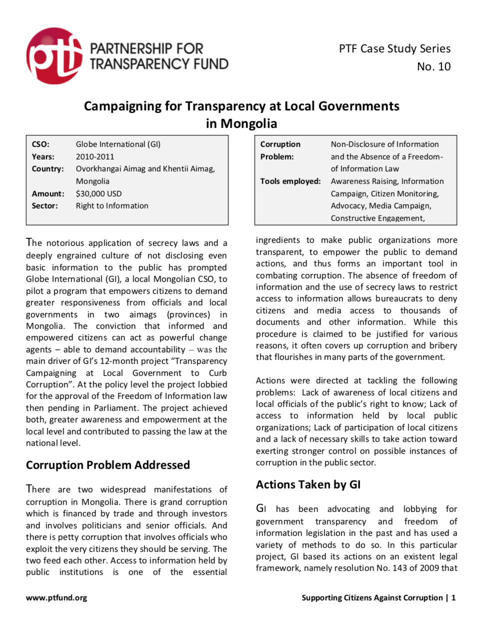 Campaigning for Transparency at Local Governments in